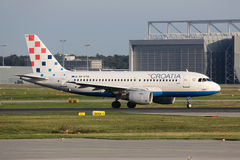 Avion de Croatia Airlines Airbus A319 Images libres de droits