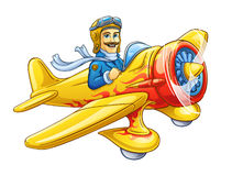 Avion de dessin animé avec le pilote Photos stock