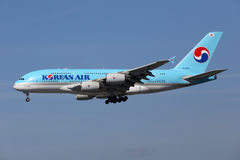 Avion de Korean Air Airbus A380 Photographie stock libre de droits