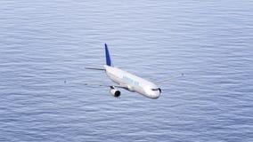 Avion de Korean Air volant au-dessus de la mer Rendu conceptuel de l'éditorial 3D Image stock