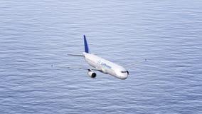Avion de Lufthansa volant au-dessus de la mer Rendu conceptuel de l'éditorial 3D Photos stock