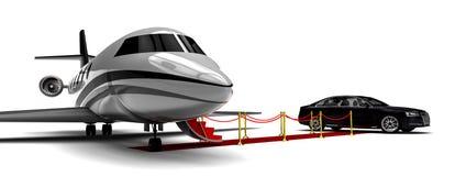 Avion de luxe avec une limousine de tapis rouge illustration stock