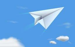 Avion de papier en ciel illustration de vecteur