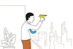 Avion de papier de projection d'homme d'affaires Images stock