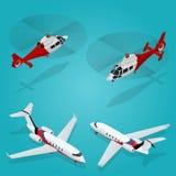 Avion de passager Avion à réaction privé Hélicoptère de passager Transport isométrique Véhicule d'avions Transport d'air Images stock
