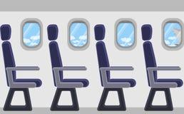 Avion de passager de l'intérieur Hublots, sièges Vue des nuages et du ciel bleu Image stock