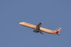 Avion de passagers américain de compagnie aérienne Photos libres de droits