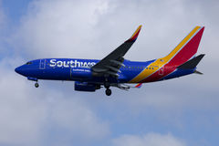 Avion de passagers Boeing 737 de ligne aérienne de sud-ouest Photos libres de droits