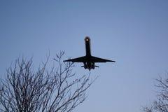 Avion de passagers de ligne aérienne entrant au-dessus des arbres, dans la soirée Image libre de droits