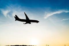 Avion de silhouette Photos stock