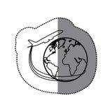 avion de silhouette d'autocollant autour d'icône du monde de la terre Photographie stock