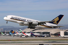 Avion de Singapore Airlines Airbus A380 Photo stock