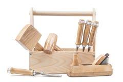 Avion de travailleurs du bois de boîte à outils de chissels de maillets d'outils de travail du bois d'isolement photographie stock libre de droits