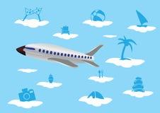 Avion de vol avec des icônes de vacances sur le vecteur Illustratio de nuages Images libres de droits