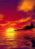 Avion et coucher du soleil illustration libre de droits