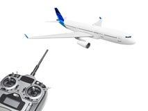 Avion et radio de RC à télécommande Images libres de droits