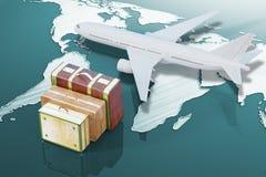 Avion et valises illustration de vecteur