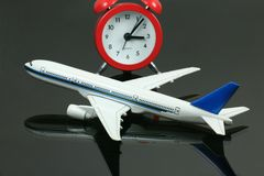 Avion modèle avec l'horloge Photo stock