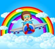 Avion pilote drôle d'équitation avec le paysage d'arc-en-ciel illustration stock
