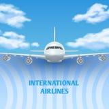 Avion réaliste, avion, avion en ciel avec le fond blanc de voyage de vecteur de nuages, affiche de promo illustration libre de droits