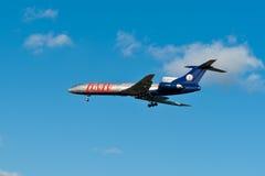 avion Rouge-bleu TU-154 Image libre de droits