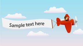Avion rouge de dessin animé avec le pilote Images libres de droits