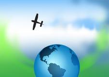 Avion, se déplaçant, globe Photos libres de droits