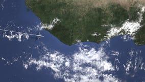 Avion se dirigeant à Abidjan, Côte d'Ivoire d'ouest sur la carte Animation de l'introduction 3D illustration de vecteur