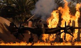 Avion sur l'incendie Photo libre de droits