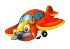 Avion traditionnel heureux de bande dessinée avec le propulseur pour la lutte contre l'incendie souriant et volant illustration stock