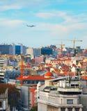 Avion vers Lisbonne, Portugal Image stock