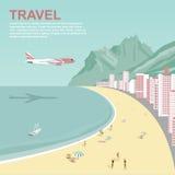 Avion volant au-dessus de la plage de Copacabana en Rio de Janeiro illustration libre de droits