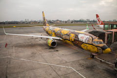 Avion - &#x22 ; OS Gemeos&#x22 ; graffiti - Gol Airlines Images libres de droits