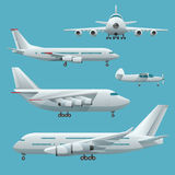 Aviones, aeroplano, anuncio publicitario del pasajero del avión de pasajeros, soldado, jet del negocio y cargo Sistema plano mode Imágenes de archivo libres de regalías