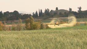 Aviones Aviones amarillos de la agricultura, plumero de la cosecha con el sonido metrajes