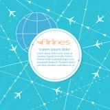 Aviones blancos en fondo azul con las rayas, el diseño para los aeropuertos y las agencias de viajes, ejemplo del vector stock de ilustración