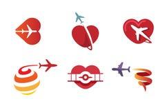 Aviones creativos y diseño simbólico de los corazones Foto de archivo libre de regalías