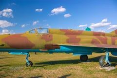 Aviones de ataque militares acorazados soviéticos en el aeródromo El avión diseñó proporcionar el apoyo aéreo cercano para las tr Foto de archivo libre de regalías