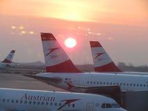 Aviones de Austrian Airlines Imagen de archivo