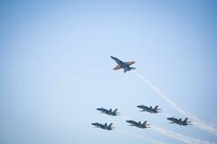 Aviones de combate del ángel azul de MARINA Imagen de archivo
