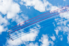 Aviones de combate durante el acrobation Foto de archivo