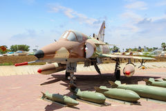 Aviones de combate israelíes con los misiles Museo israelí de la fuerza aérea fotografía de archivo libre de regalías