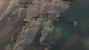 Aviones de combate de la cuña de vuelo de la Segunda Guerra Mundial IL-2 ilustración del vector