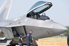 Aviones de combate tácticos del rapaz de Lockheed Martin F-22 Fotografía de archivo