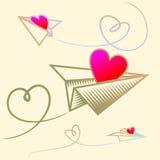 Aviones de las tarjetas del día de San Valentín Fotos de archivo libres de regalías