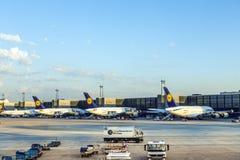 Aviones de Lufthansa en el terminal 1 en Francfort Imágenes de archivo libres de regalías