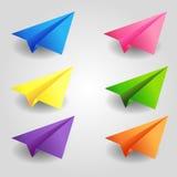 Aviones de papel del color Imagen de archivo