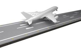 Aviones de pasajero con la pista representación 3d Fotografía de archivo libre de regalías