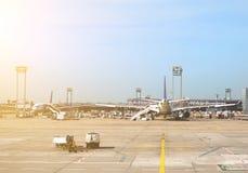 Aviones de pasajeros Foto de archivo