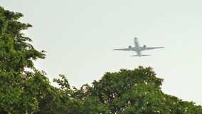 Aviones del despegue en el fondo de la selva y de los árboles en Indonesia almacen de metraje de vídeo
